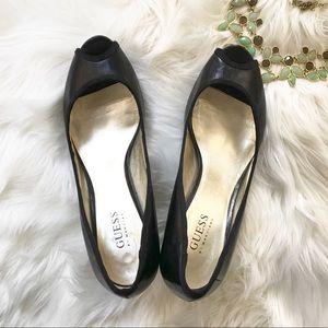 Guess Kitten Heel Black Peep-toe Pumps